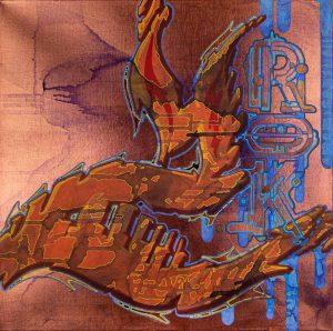 acryl und marker auf leinwand, hellblau auf kupfer