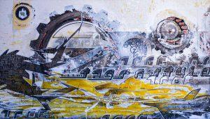 style machine, acryl schwarz gelbe buchstaben auf leinwand - 140x80cm